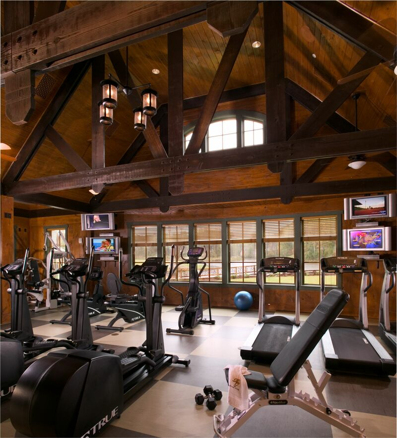 Interior shot of the fitness area at The River Club in Suwanee, Georgia